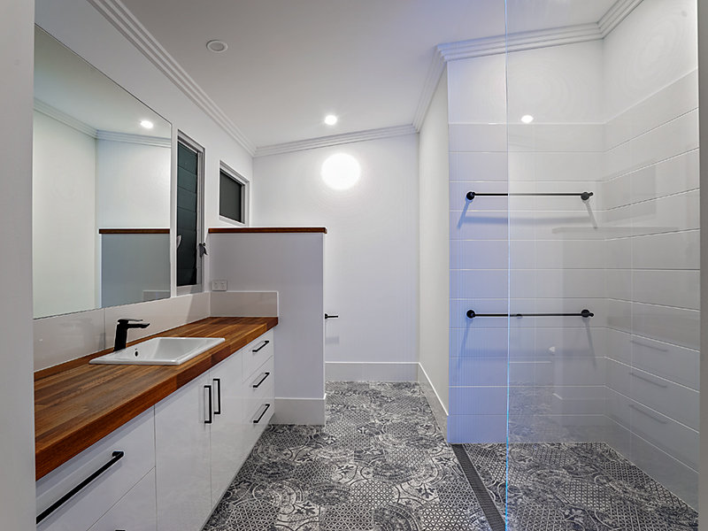 Modern bathroom with a glass shower