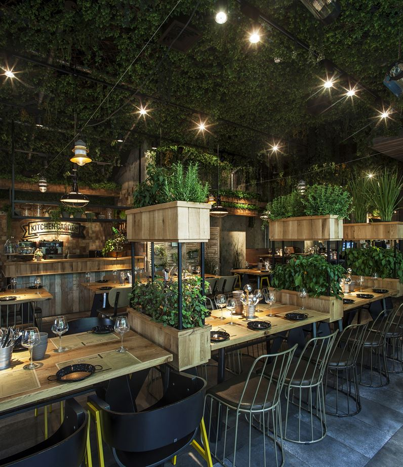 A natural restaurant interior design adorable home for Kitchen garden design