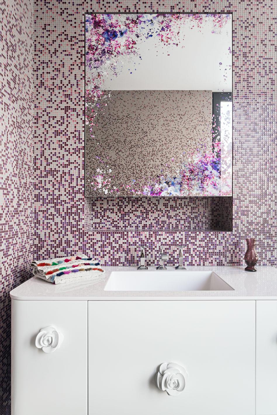 Purple mosaic in bathroom