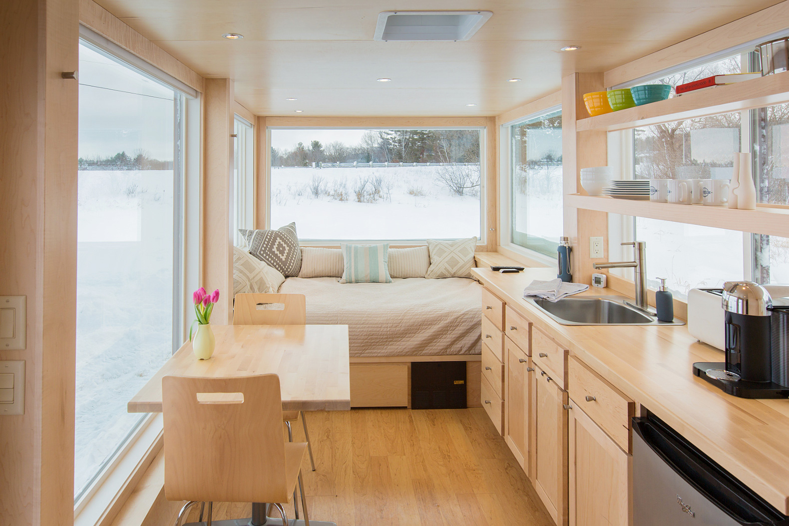 A tiny trailer home like no other adorable home - Home design small spaces ideas collection ...