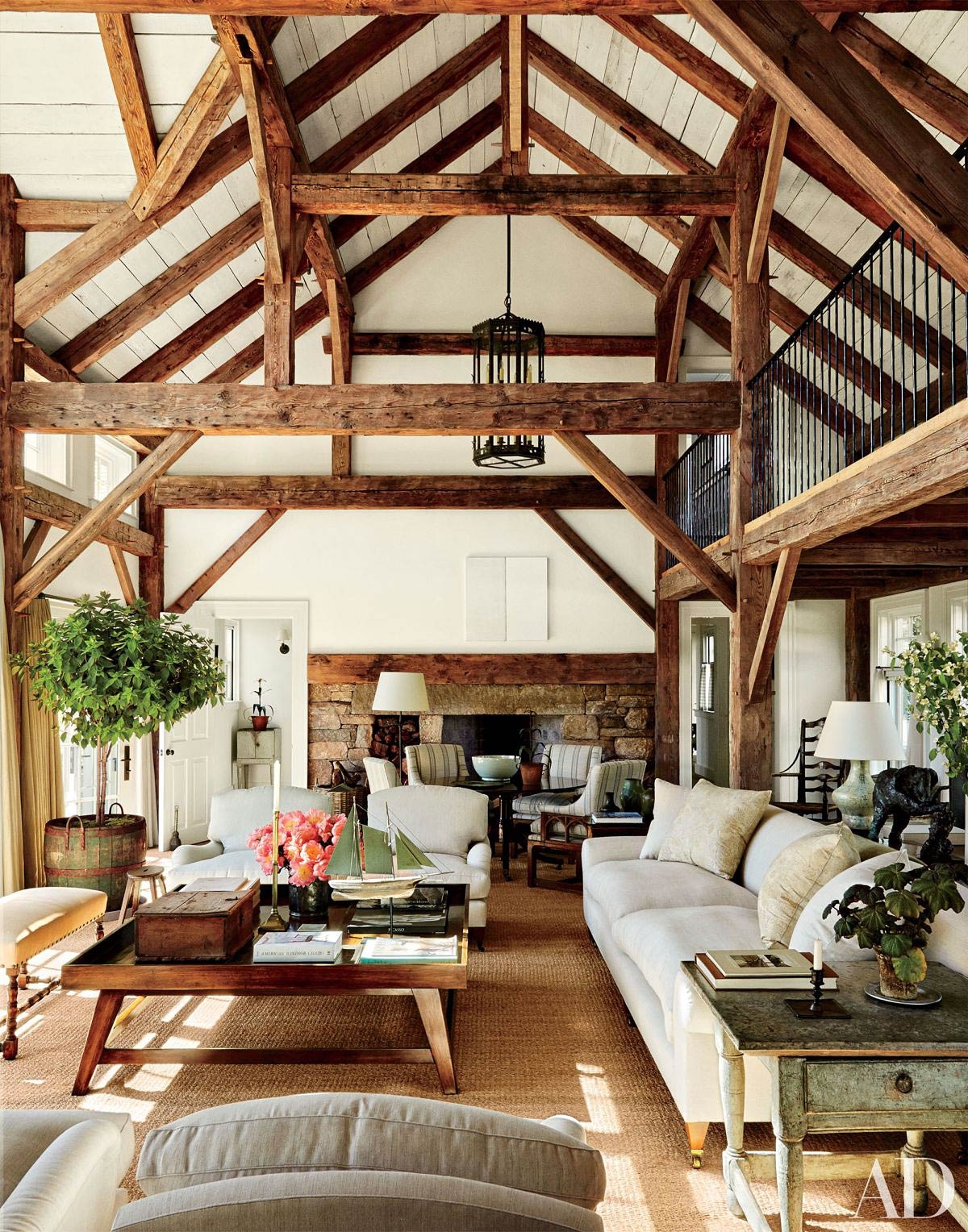 Attic Living Room With Wooden Beams
