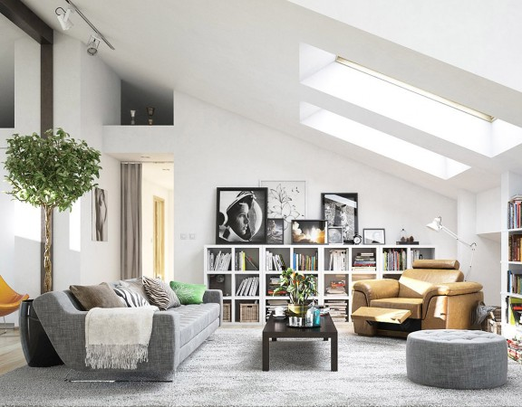 Attic Living Room Designed in Scandinavian style