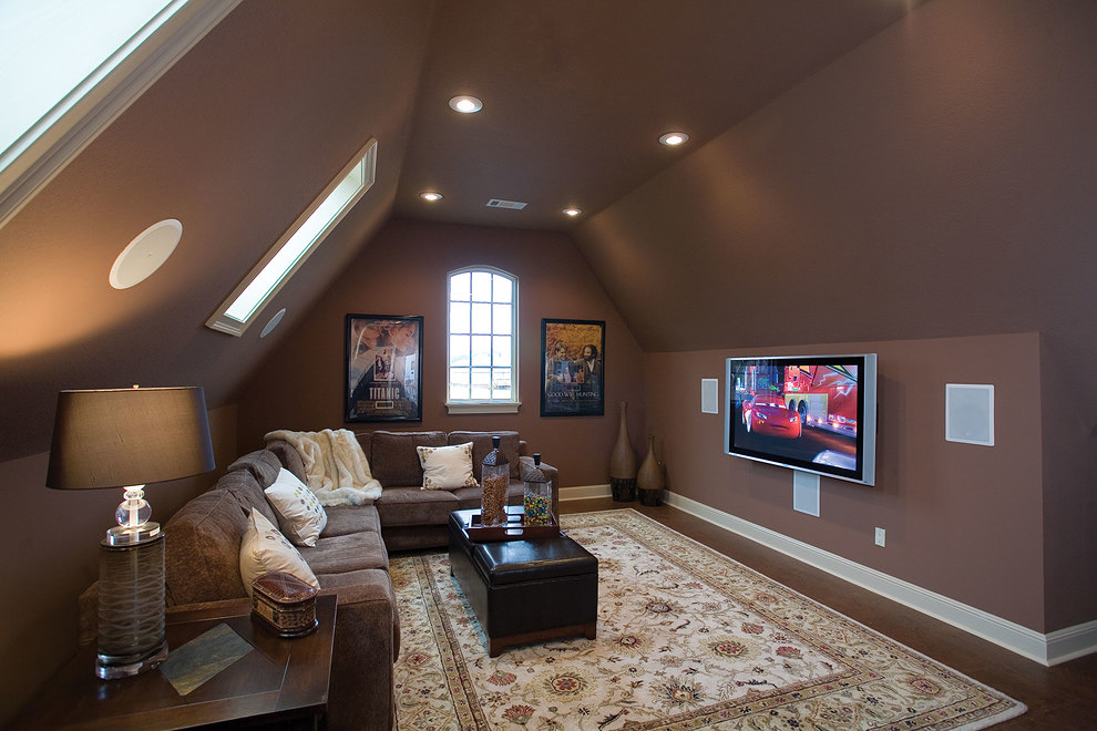 Attic living room in brown color