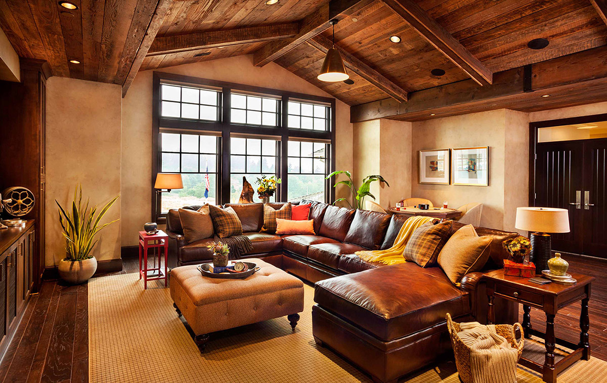 Attic living room with all wooden ceiling