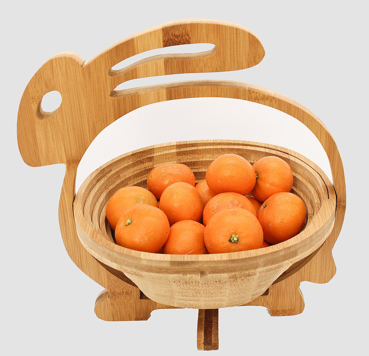 Bamboo folding fruit bowl in the shape of a rabbit