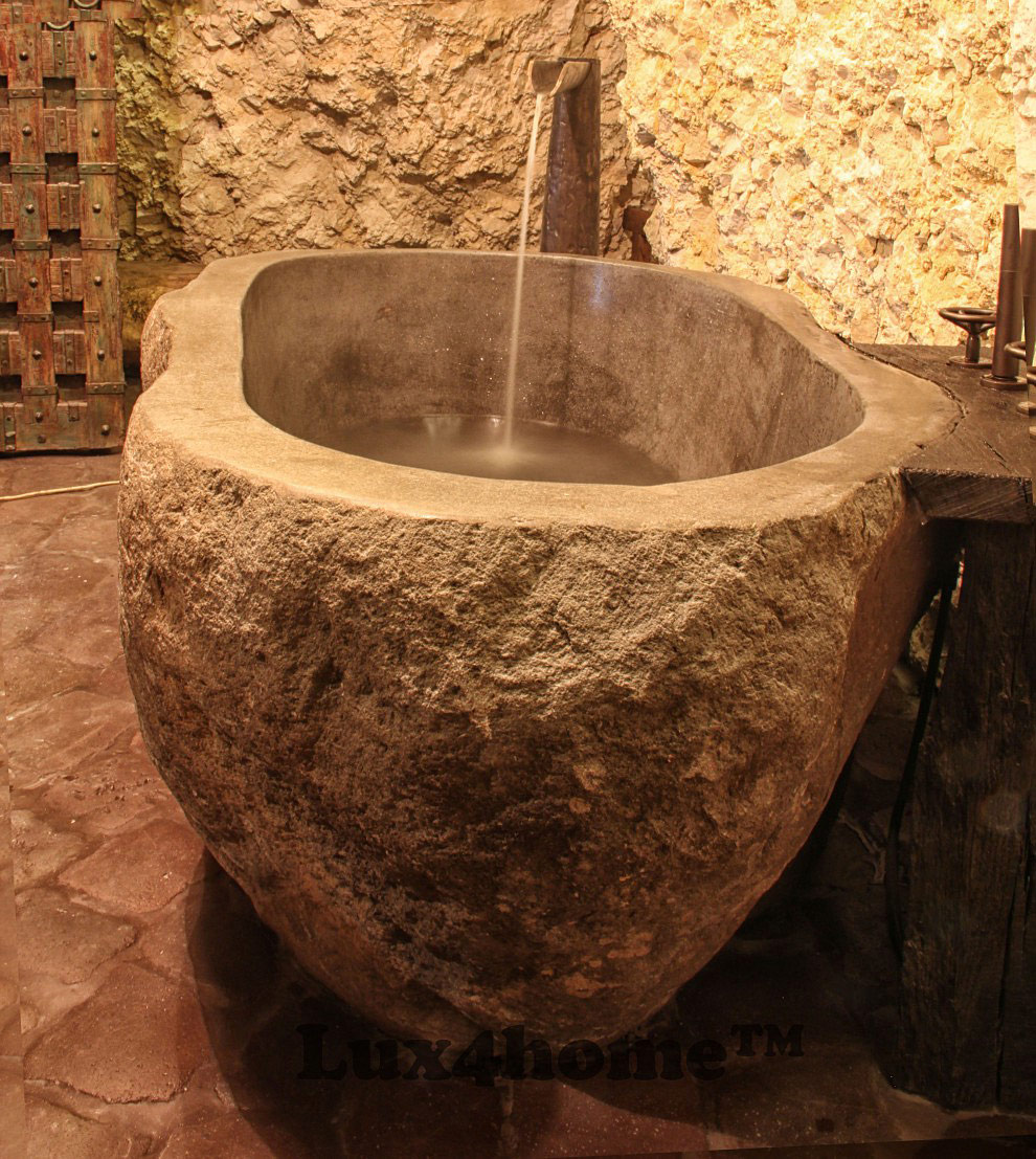 Handmade river stone bathtub