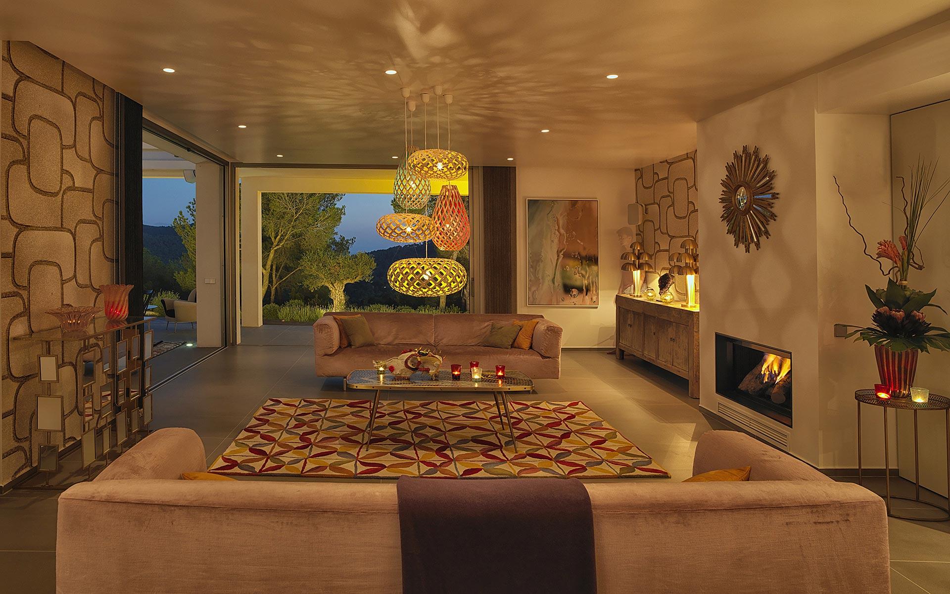 Brilliantly refurbished Ibiza house-Beautiful living room-at-night