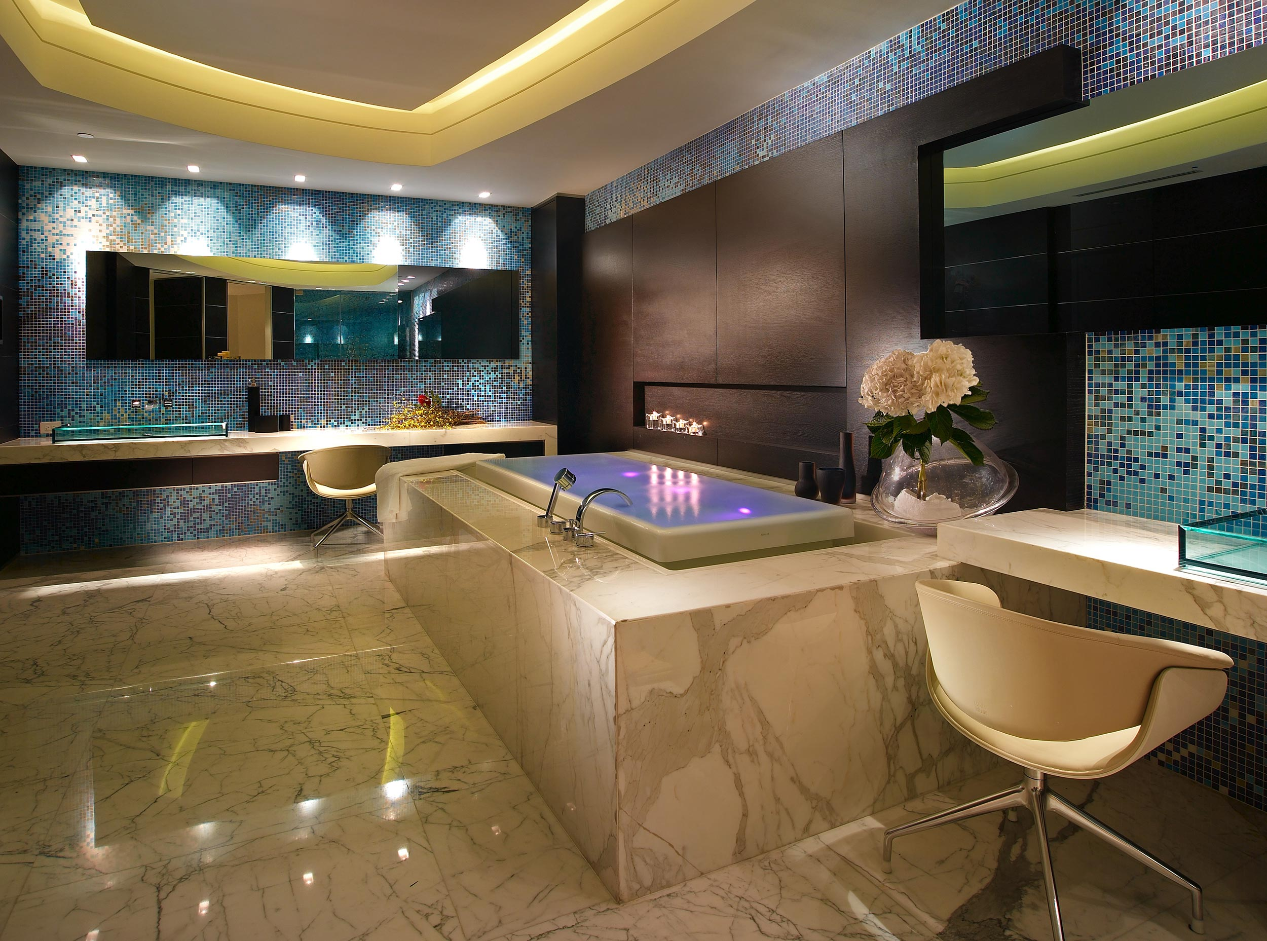 Luxury bathroom with marble bathtub