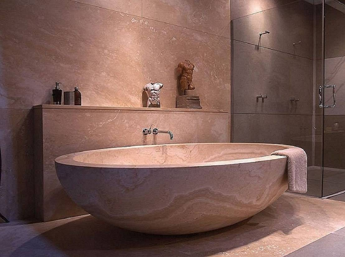Small natural stone bathtub