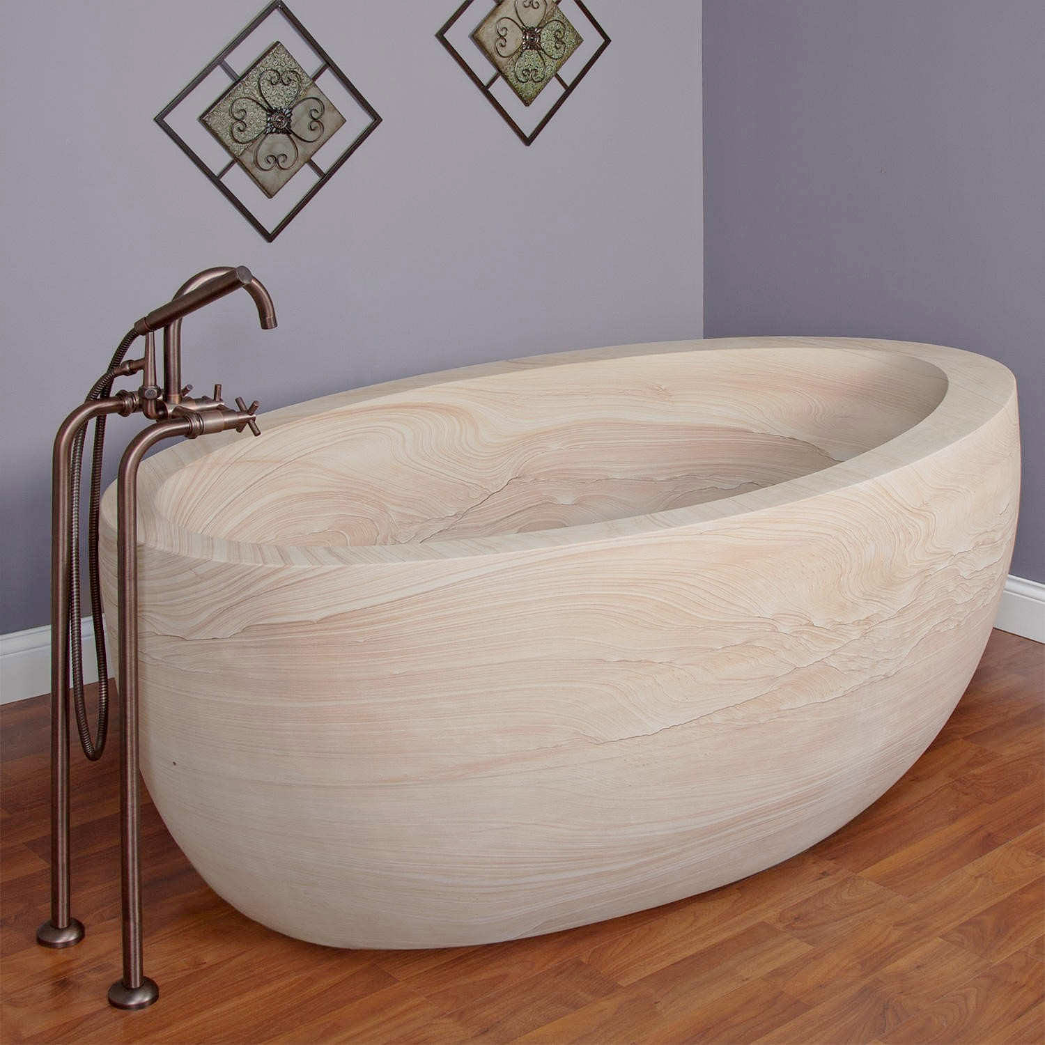 White sandstone slipper tub