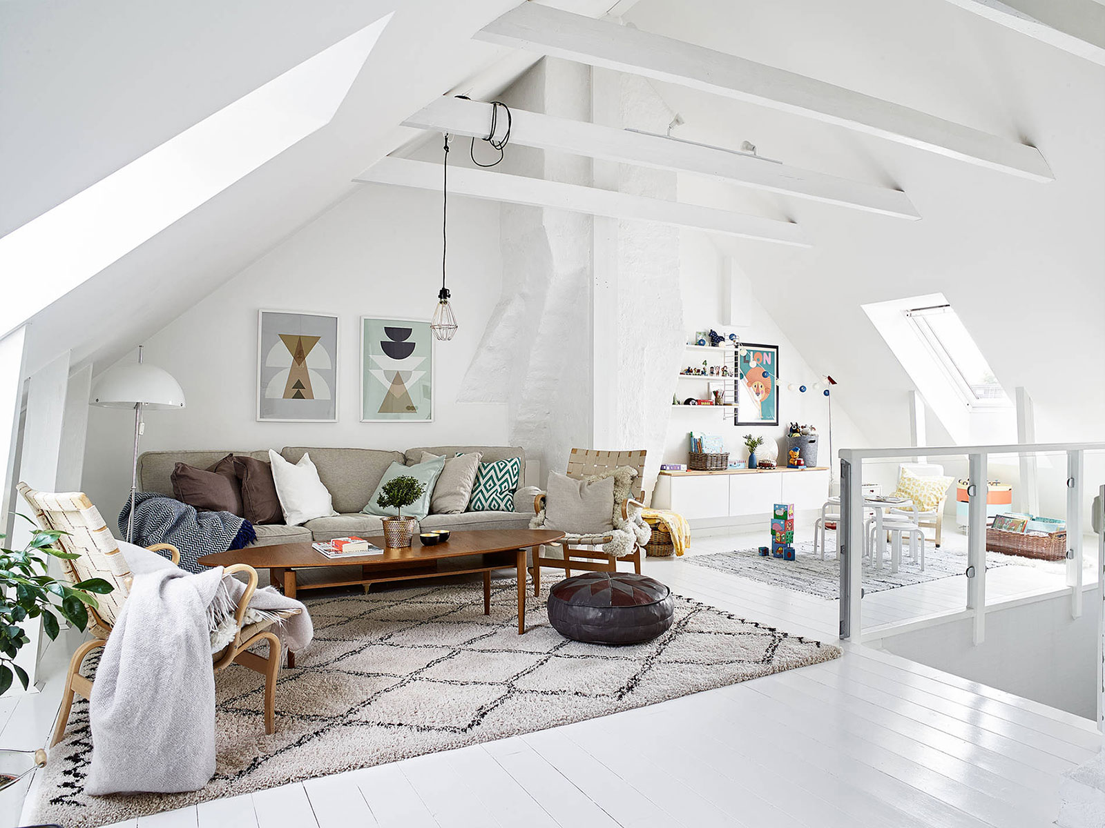 Scandinavian style attic living room
