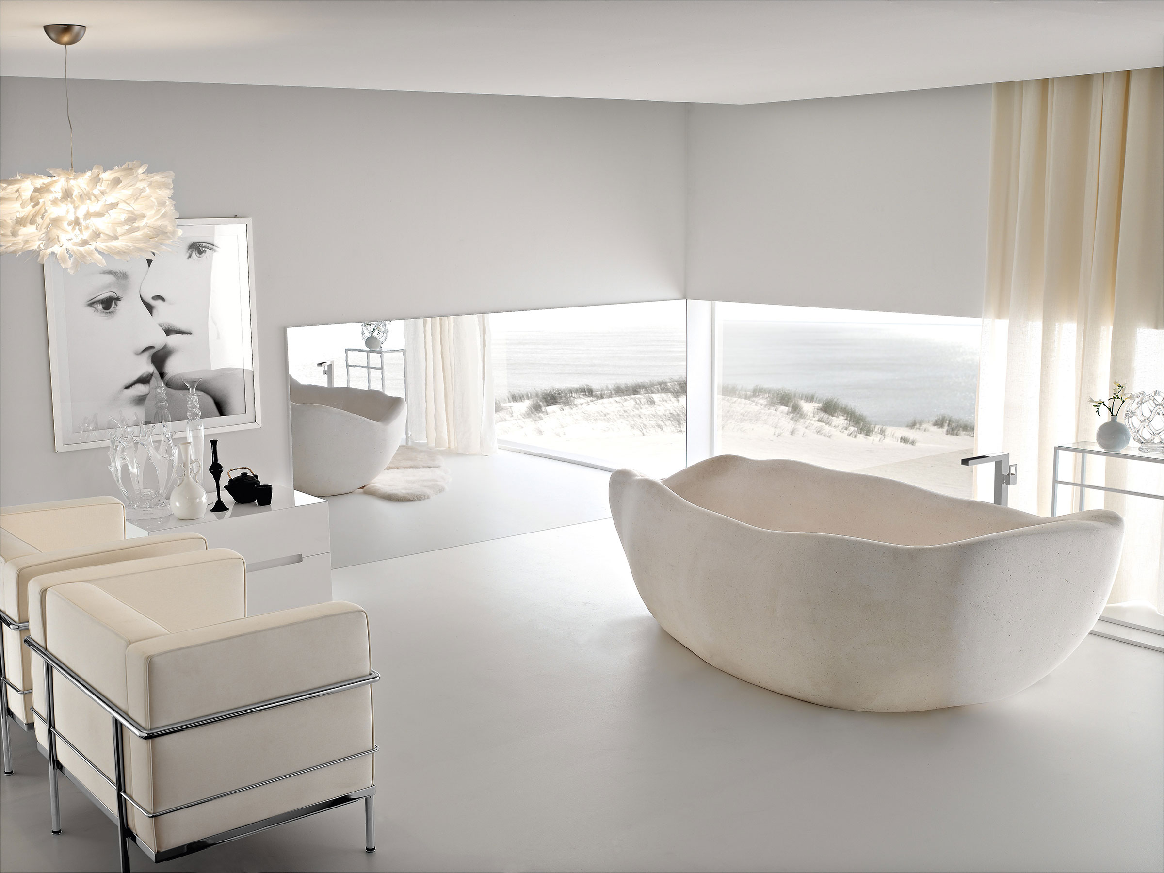 White stone freestanding tub