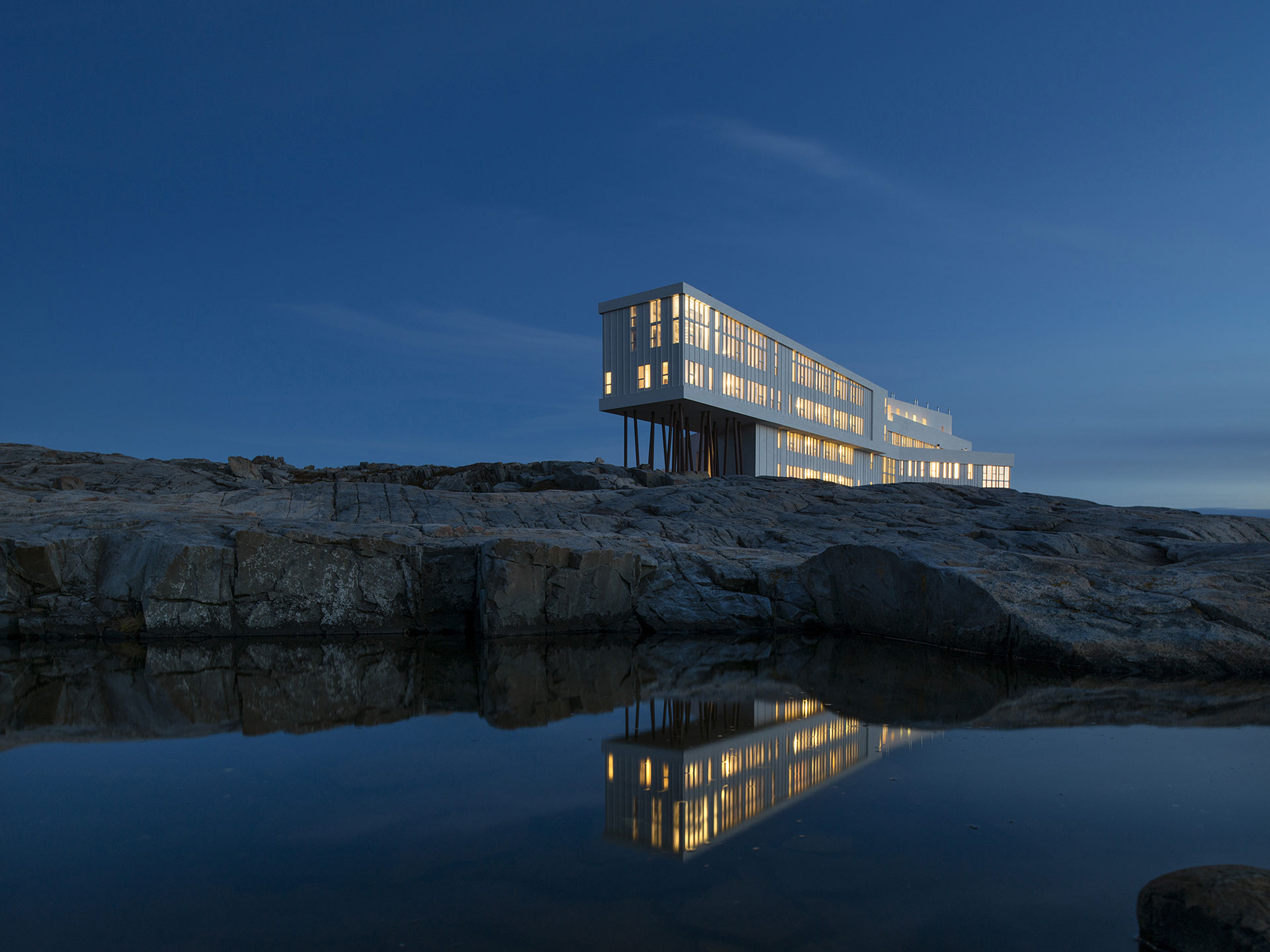 Fogo Island Inn by night
