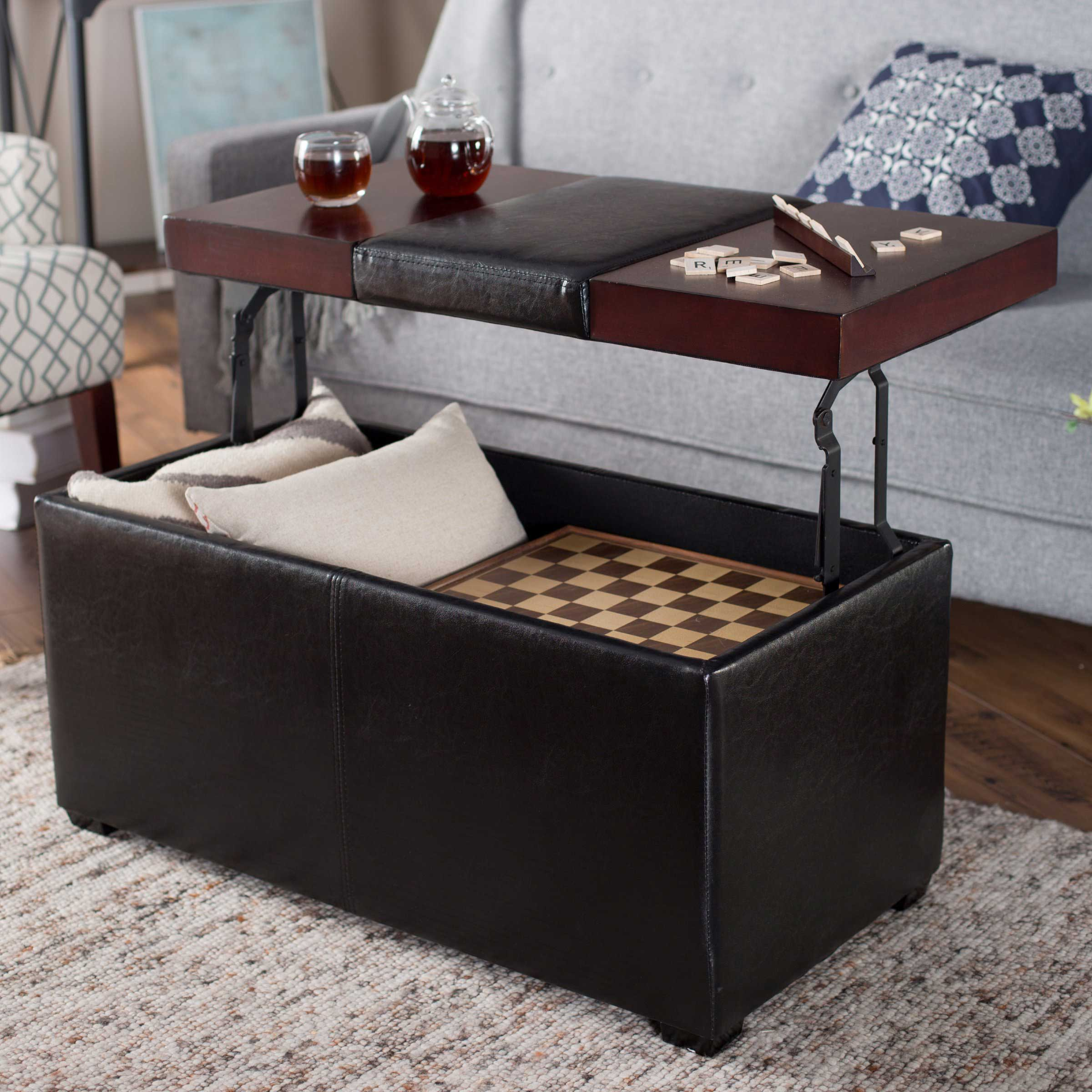 Leather Coffee Table With Storage