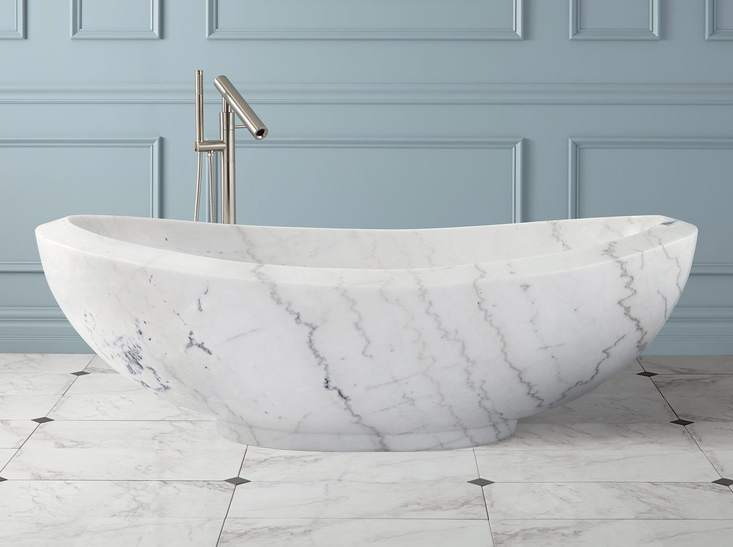 Lucius Moonlight White Marble Bathtub