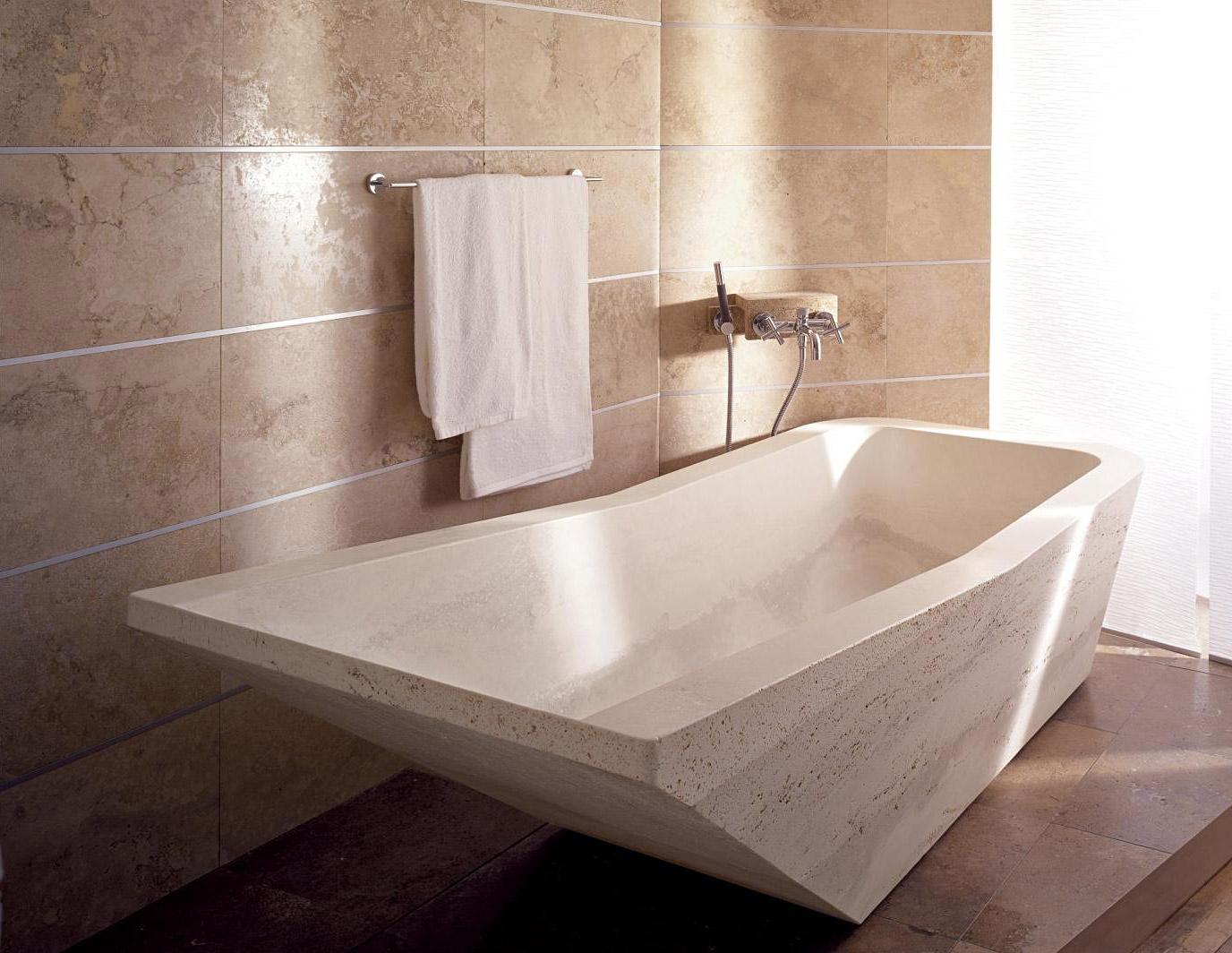 Modern Travertine Bathtub