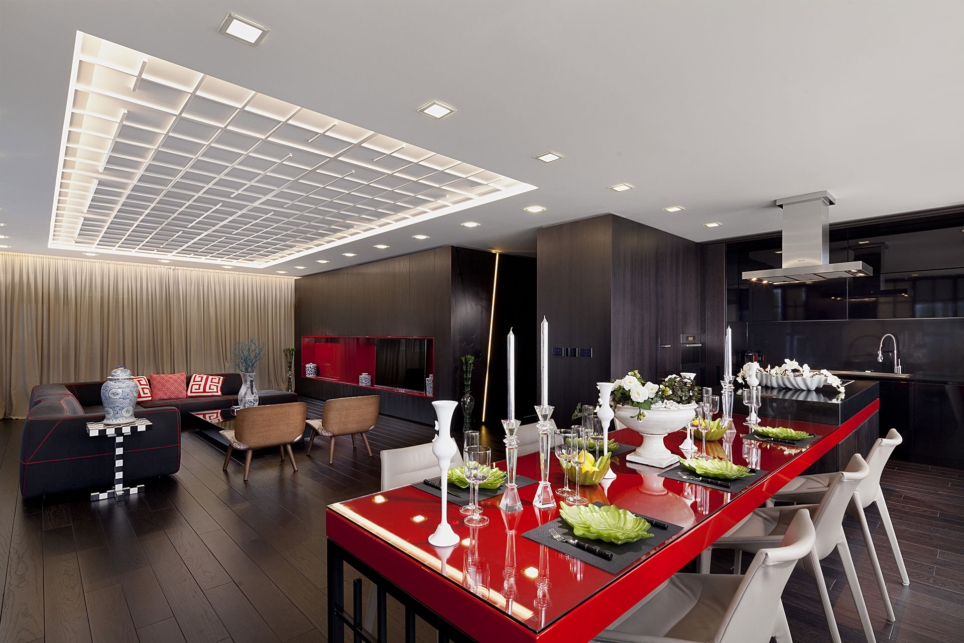 Modern black and red living area
