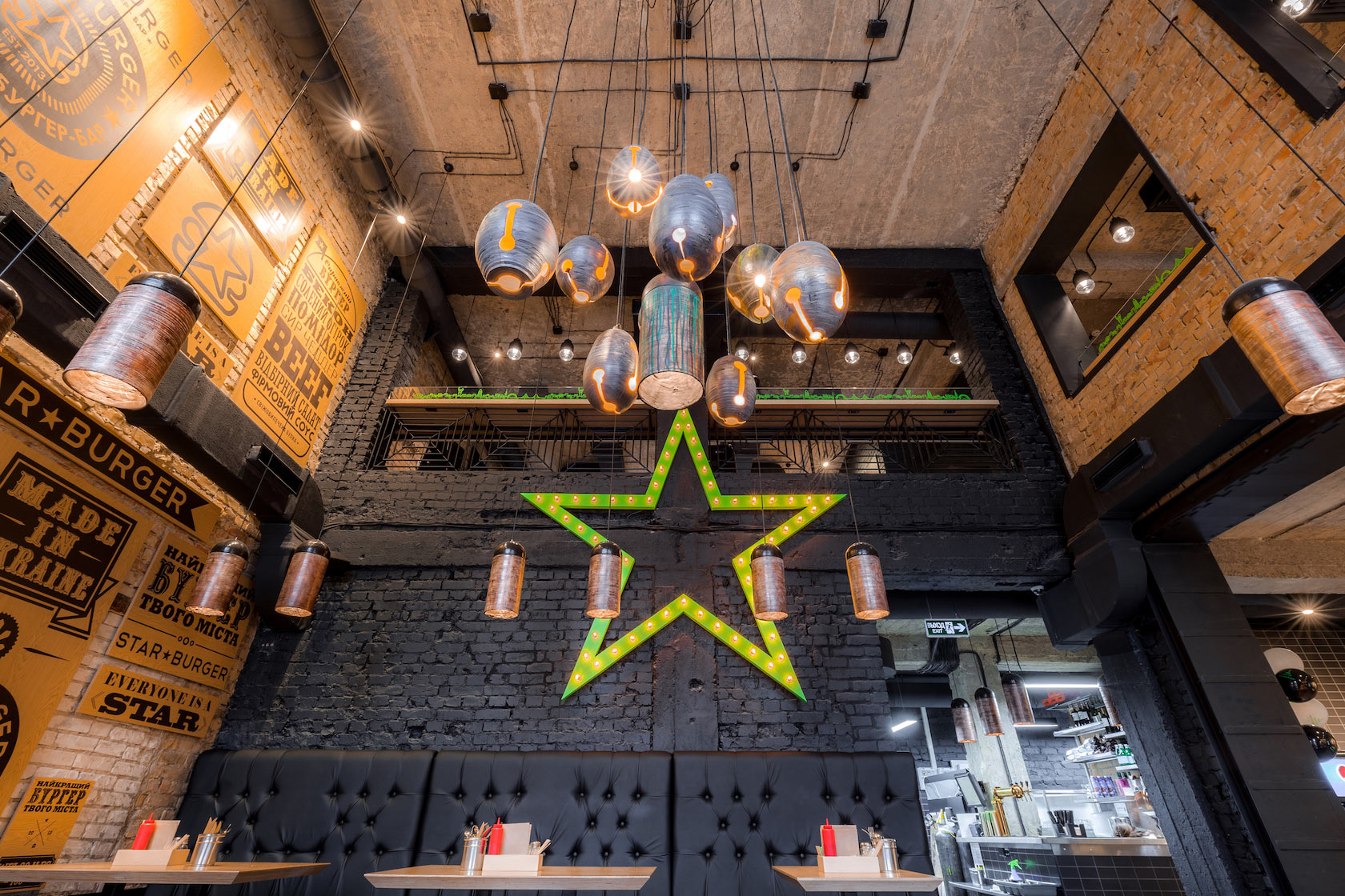 Star burger an industrial restaurant design adorable home for My home interior design
