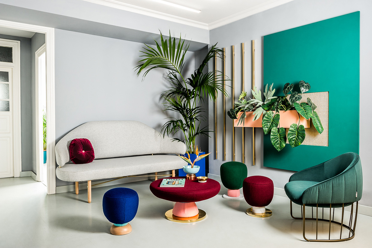 Waiting area with modern eclectic furniture