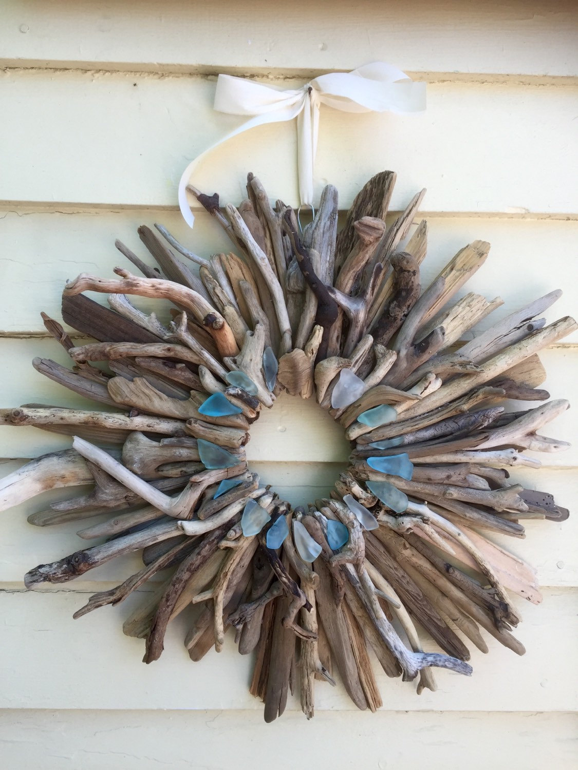 Driftwood and sea glass wreath