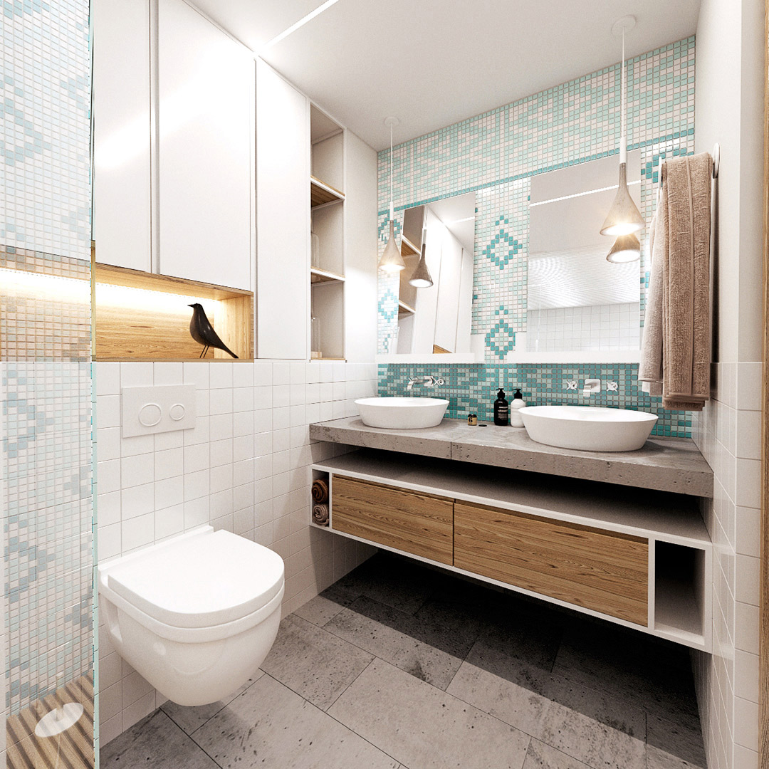 Modern bathroom with teal tiles