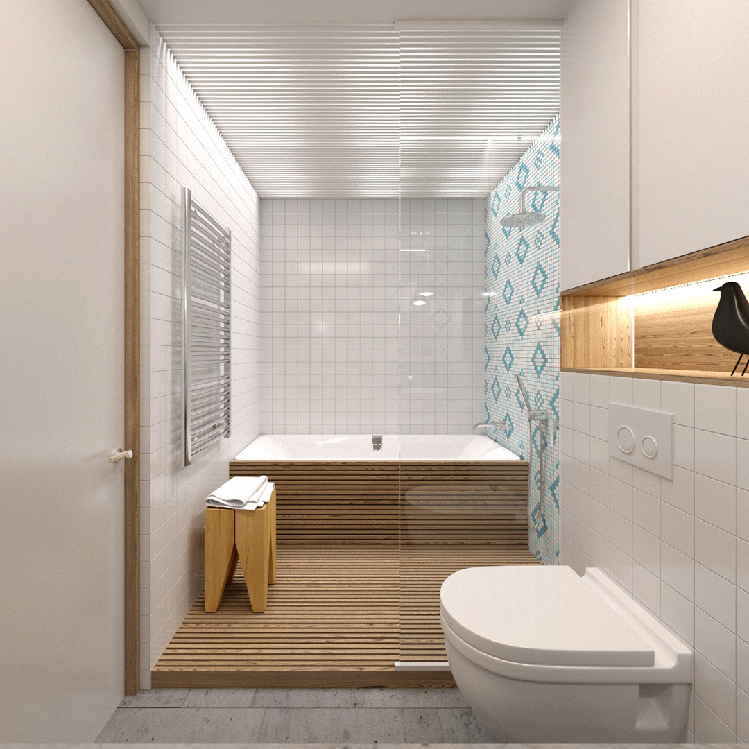 Modern narrow bathroom with a tub