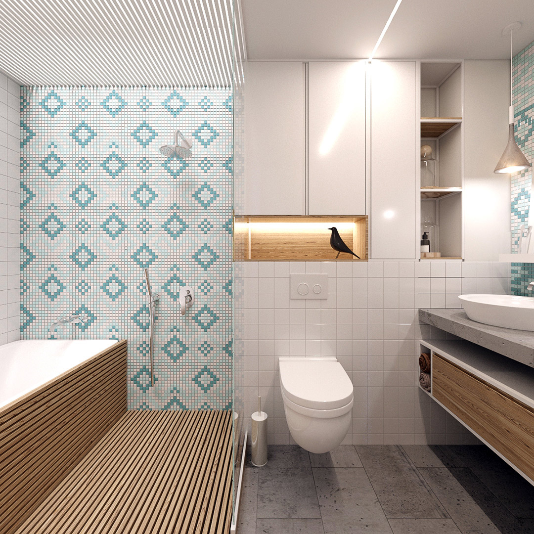 Neutral bathroom design with teal and white tiles