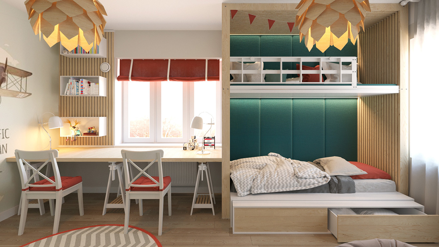 Kid's room with teal and red accents
