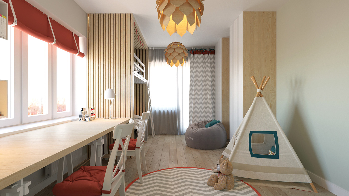 Kid's room with a teepee