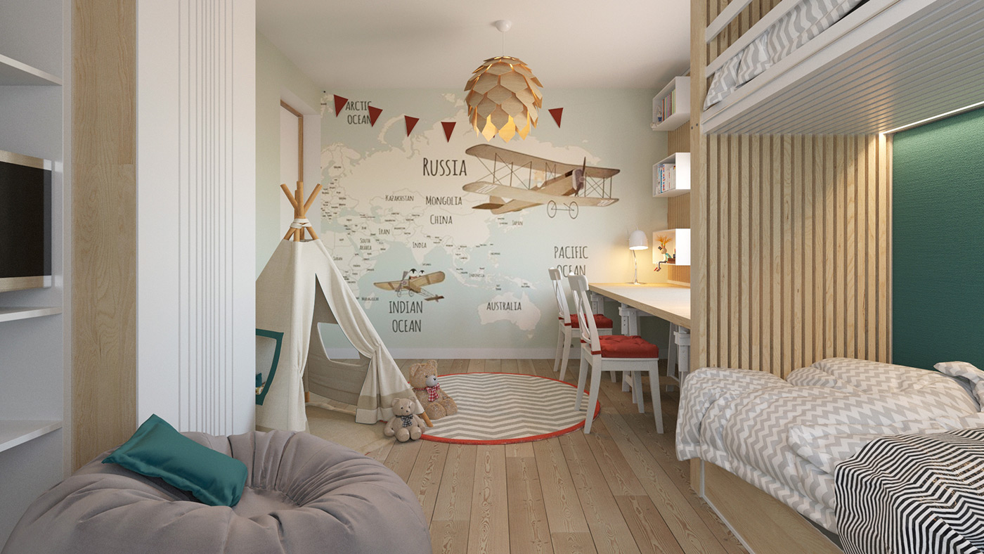 Kid's room with a wall map