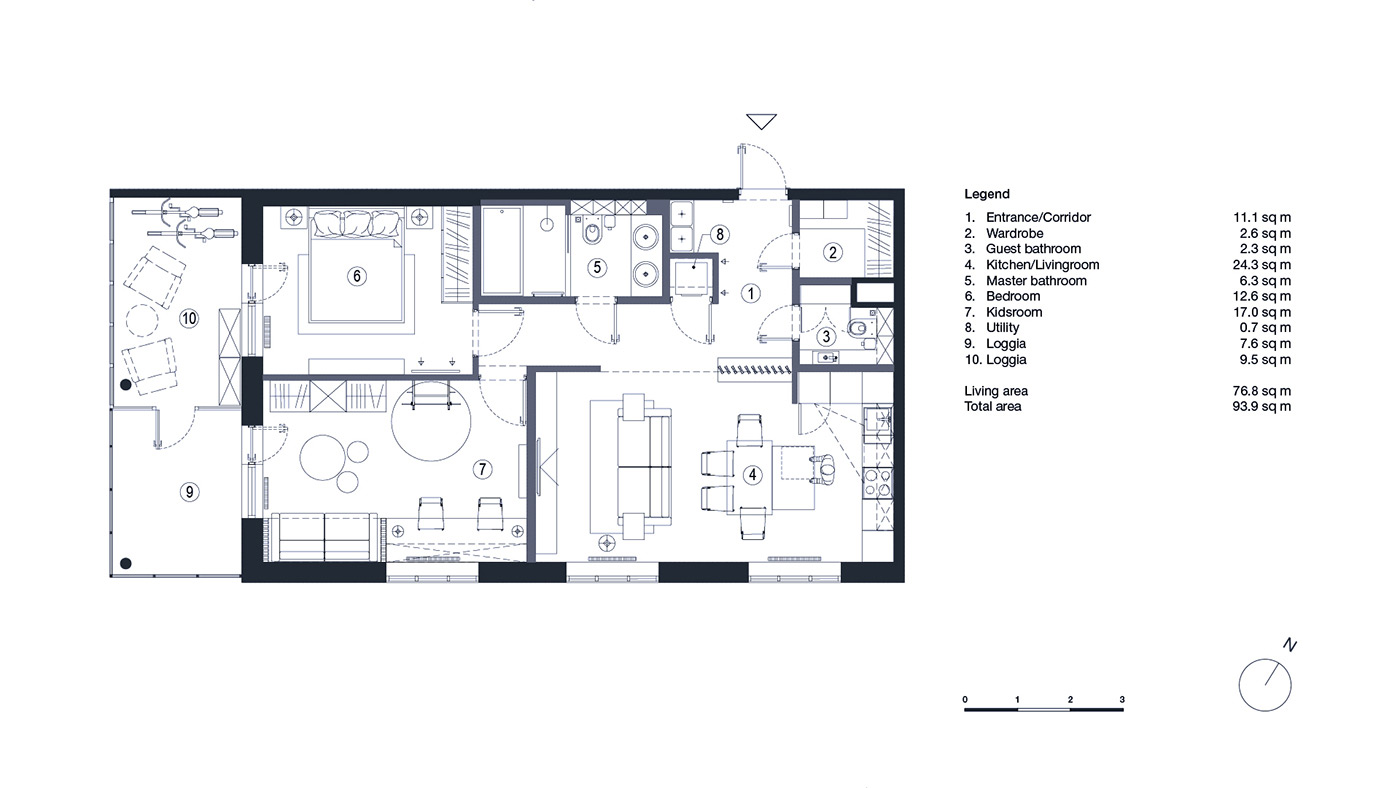 Modern apartment floor plan