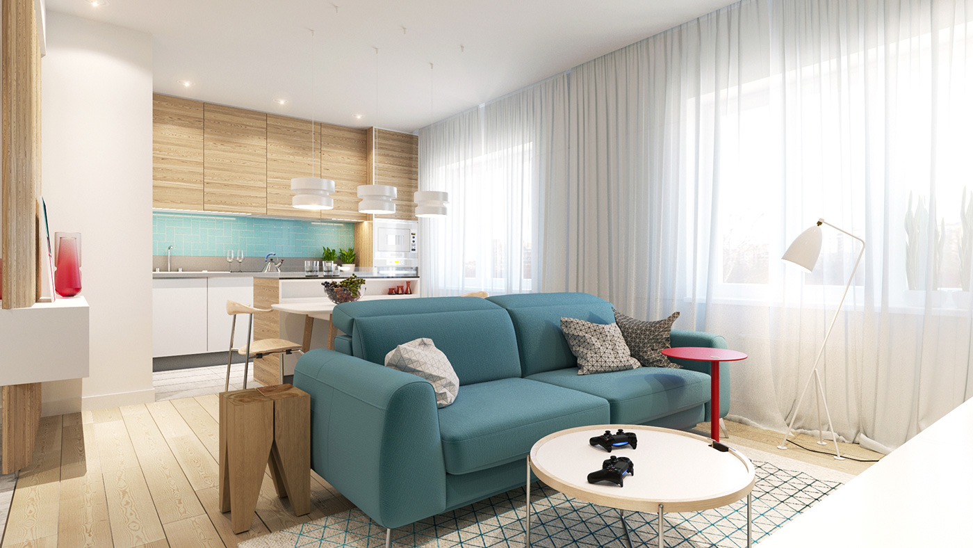 Modern living room with a teal sofa