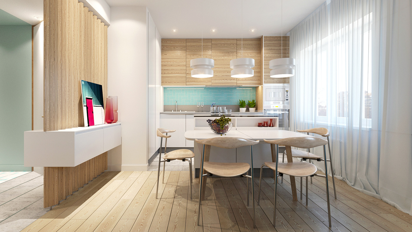 Modern kitchen and dining space