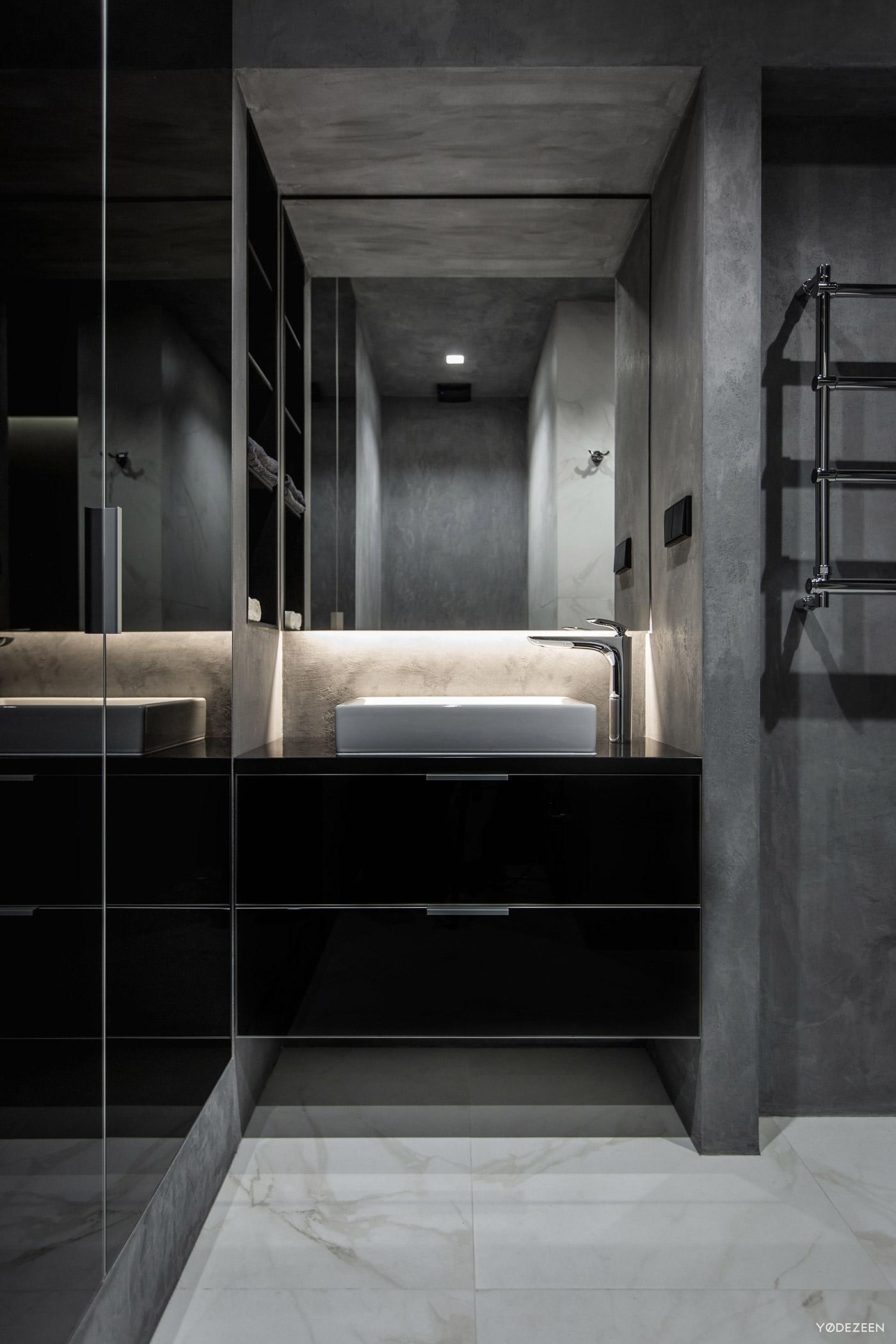 Contemporary dark bathroom
