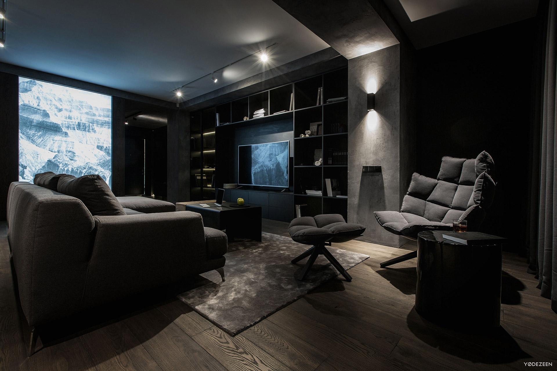 Dark living room decor