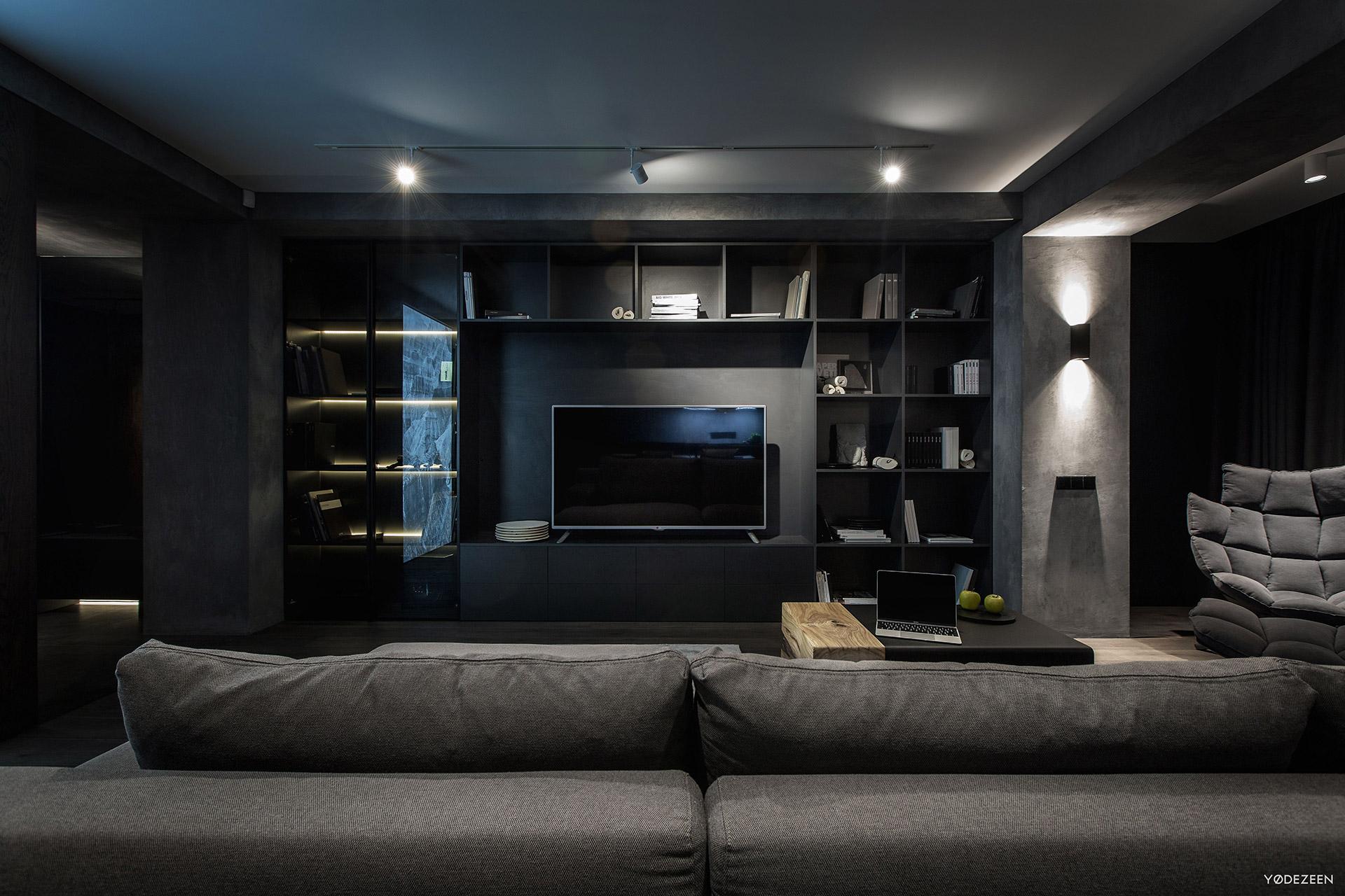 TV section in a modern dark residence
