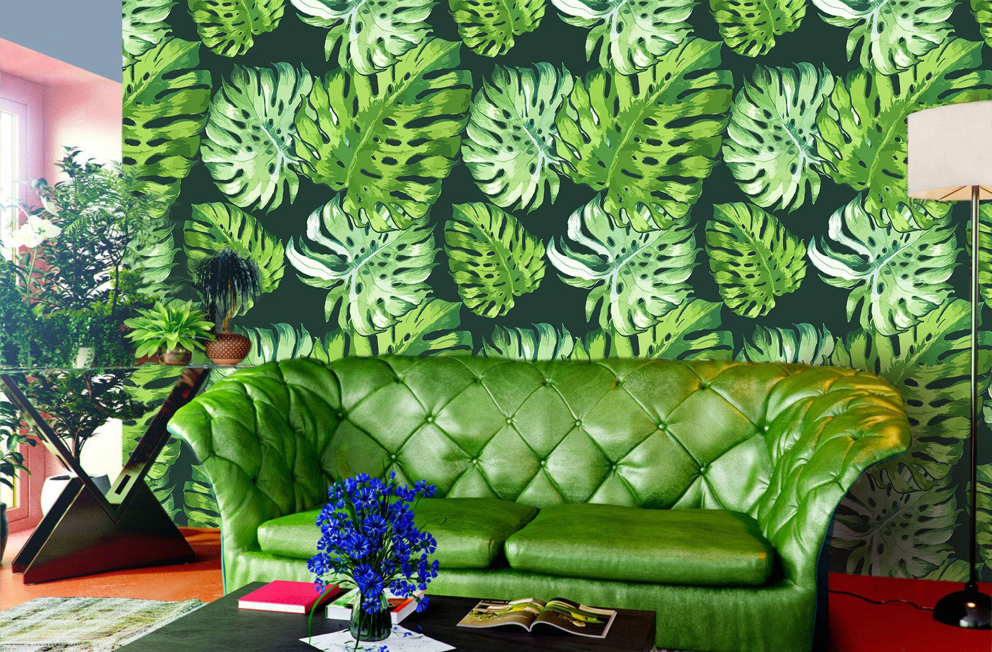 Green tropical wallpaper design