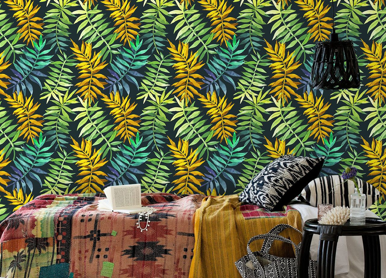 Green and yellow tropical wallpaper design