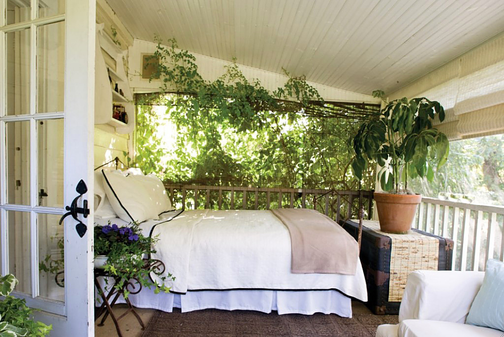 A bed on the porch