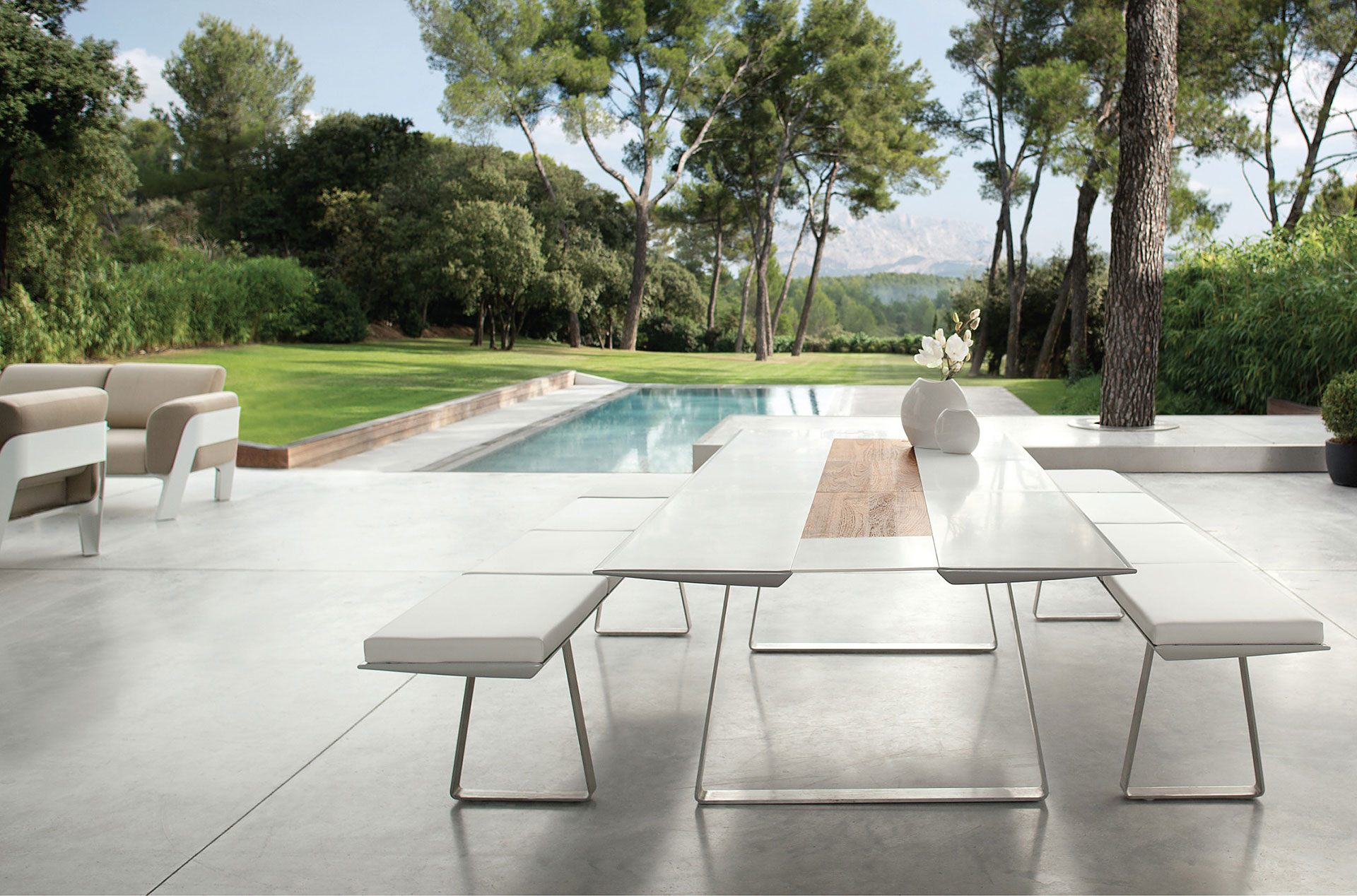 Modern outdoor dining table