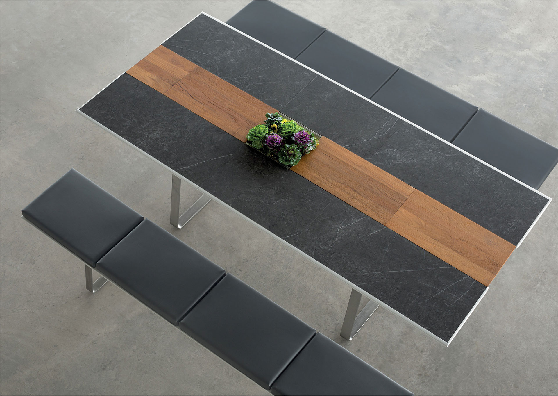 Black And Wood Dining Table