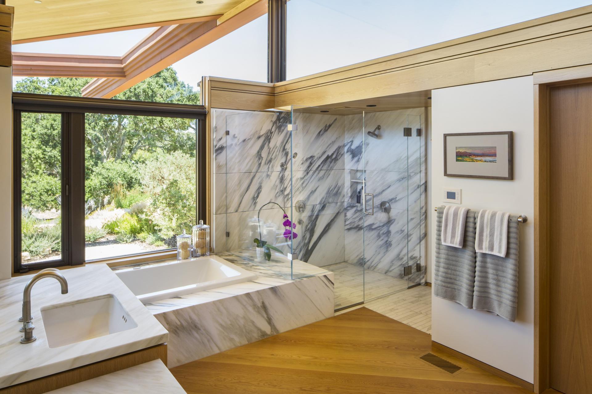 Spacious marble bathroom