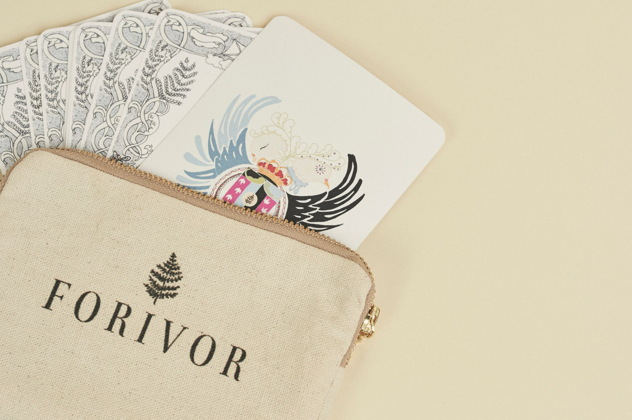 Character cards in a cotton bag