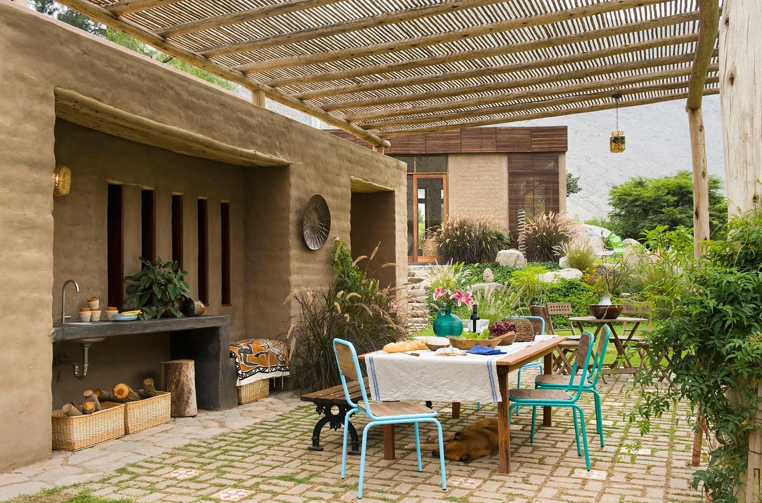 Beautiful porch made of natural materials