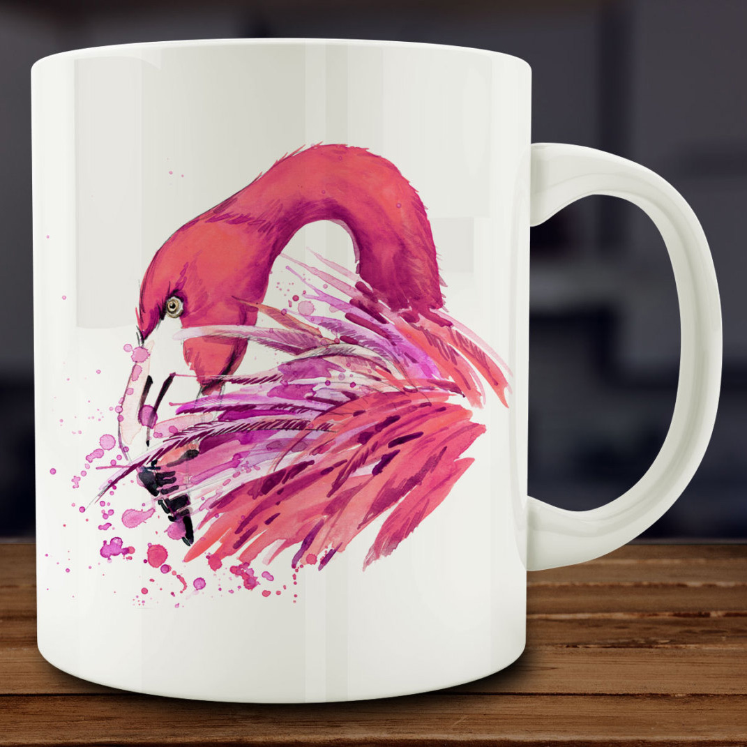 Watercolor pink flamingo mug