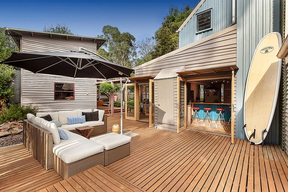 Spacious patio with wooden decking
