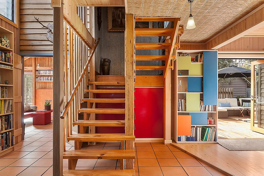 Wooden staircase of a house
