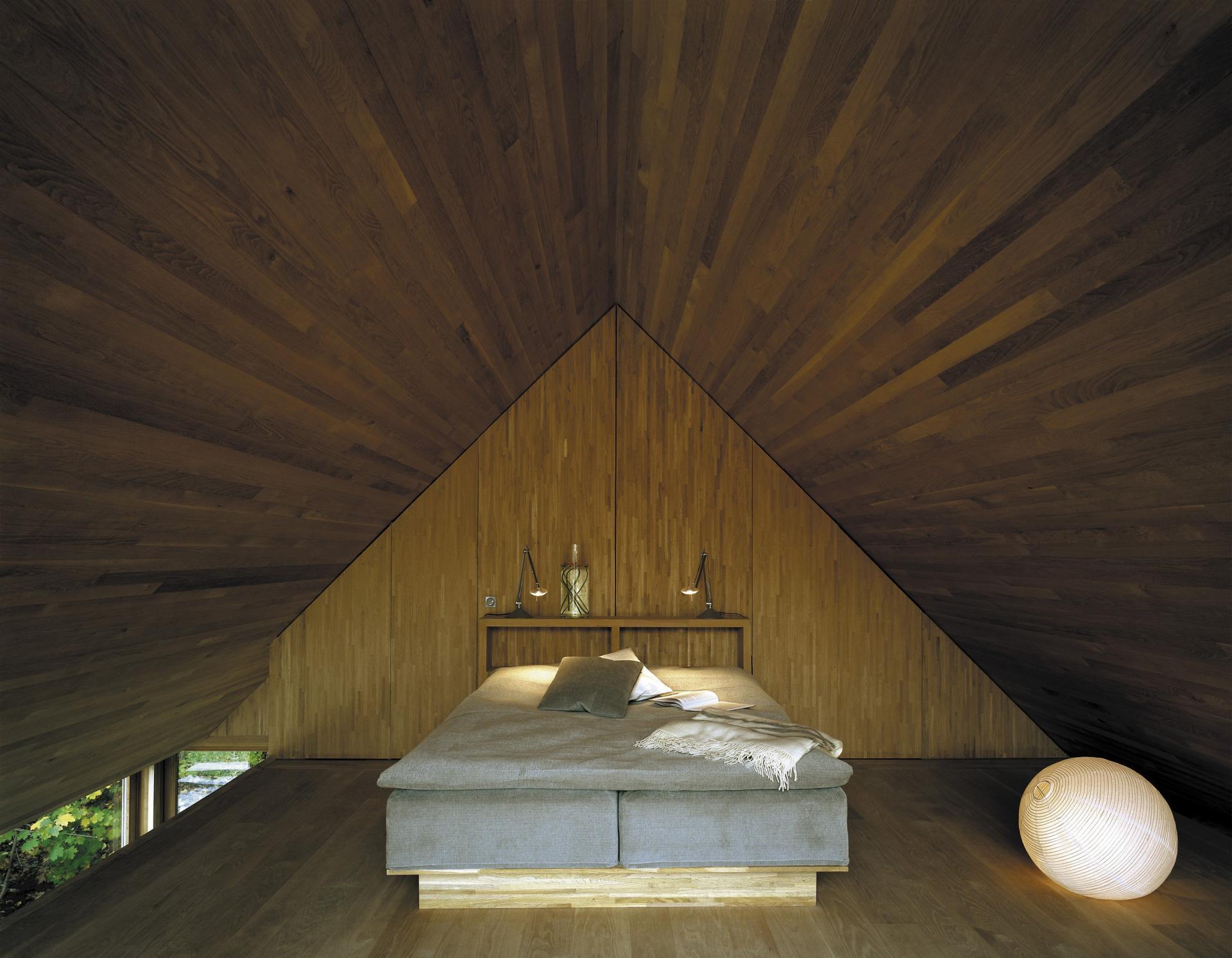 Light oak attic bedroom