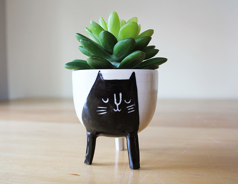 Handmade cat planter
