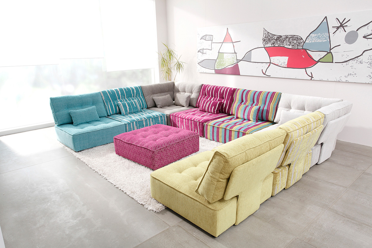 Colorful sectional sofa with an ottoman